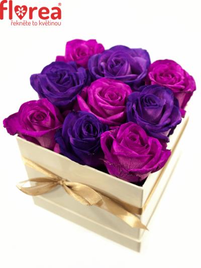 Krabička růží bílá ALETHEIA 12x12x11cm