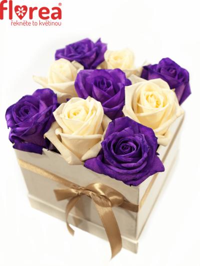 Krabička růží bílá ALEXUS 12x12x11cm