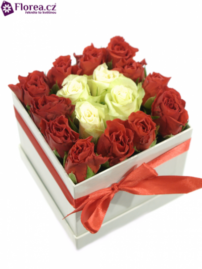 Krabička růží bílá HONNA 12x12x11cm