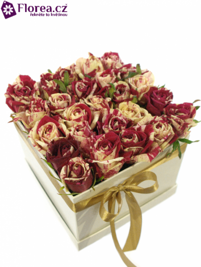 Krabička růží bílá KALLIOPE 16x16x13cm