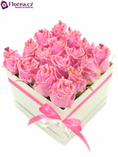 Krabička růží bílá KOLINA 20x15cm