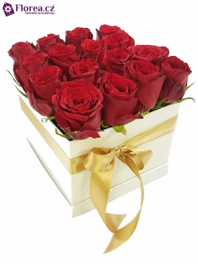Krabička růží bílá KOSTAS 16x16x13cm