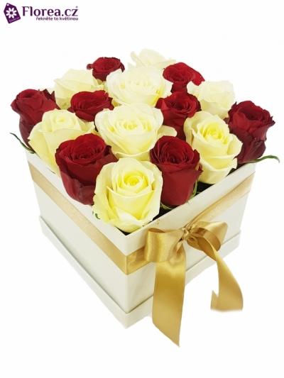 Krabička růží bílá KRISKA 16x16x13cm