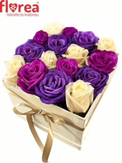 Krabička růží bílá TERISITA 16x16x13cm