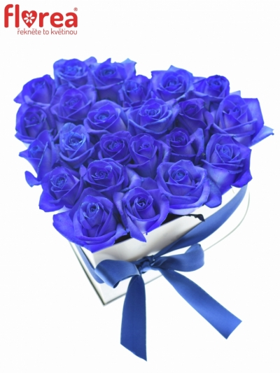 Krabička růží bílé srdce IRYNA 20x11cm