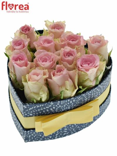 Krabička růží BISOU modrá 15x8cm