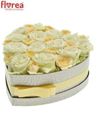 Krabička růží DE LA CRREME šampaň 24x10cm
