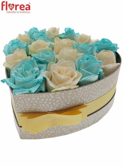 Krabička růží ELIAZ šampaň 19x9cm
