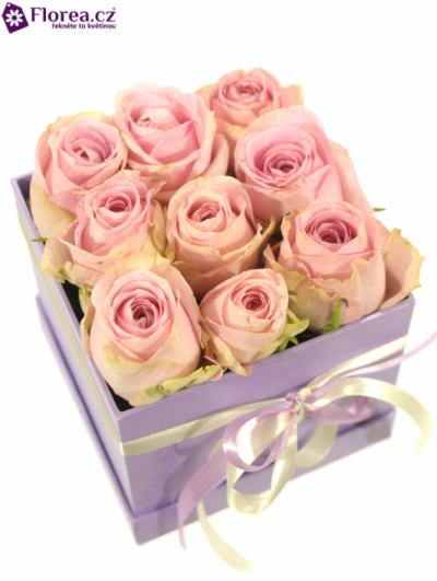 Krabička růží lila FOTIS 12x12x11cm