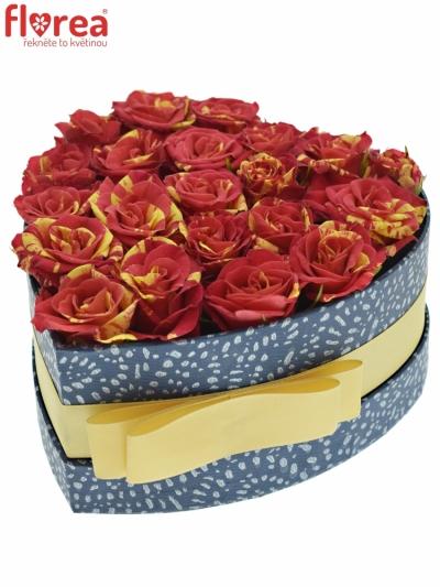 Krabička červenožlutých růží FIRE FLASH modrá 15x8cm