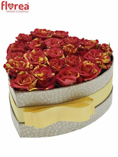 Krabička červenožlutých růží FIRE FLASH šampaň 15x8cm