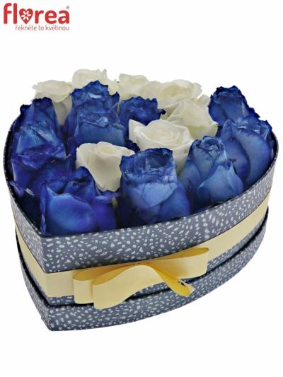 Krabička růží INARA modrá 24x10cm