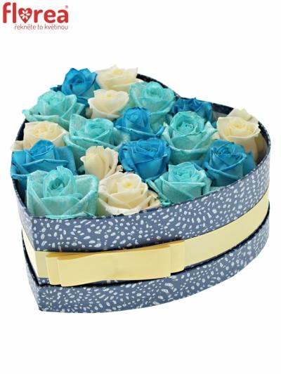 Krabička růží JITANA modrá 19x9cm