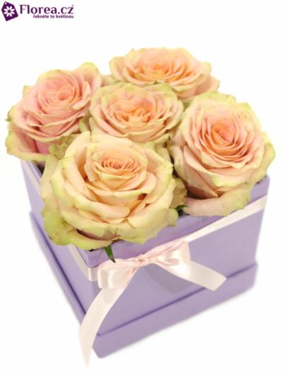 Krabička růží lila KATALINA 12x12x11cm
