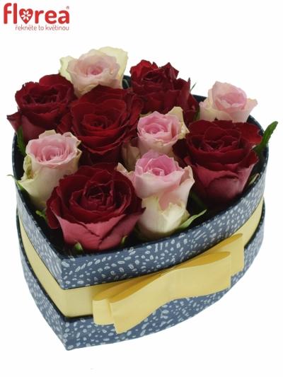 Krabička růží MADAM BISOU modrá 15x8cm
