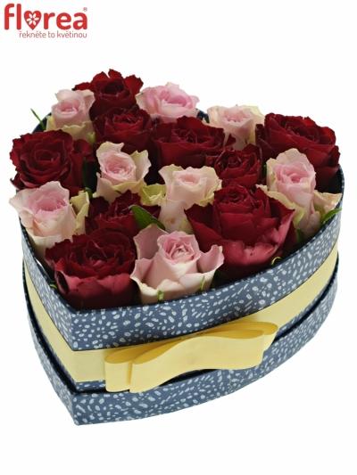Krabička růží MADAM BISOU modrá 19x9cm