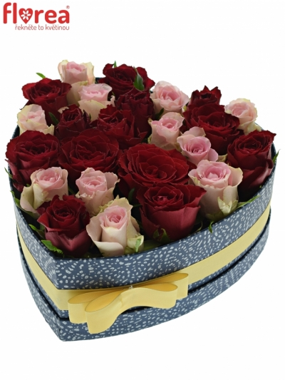 Krabička růží MADAM BISOU modrá 24x10cm