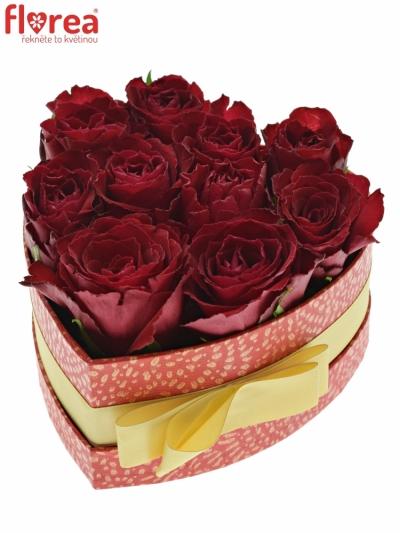 Krabička růží MADAM RED červená 15x8cm