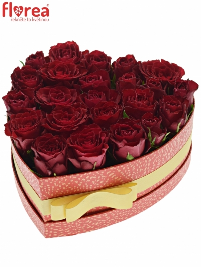 Krabička červených růží MADAM RED červená 24x10cm
