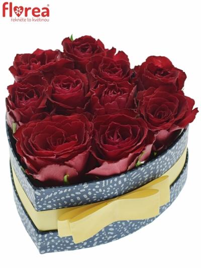 Krabička růží MADAM RED modrá 15x8cm