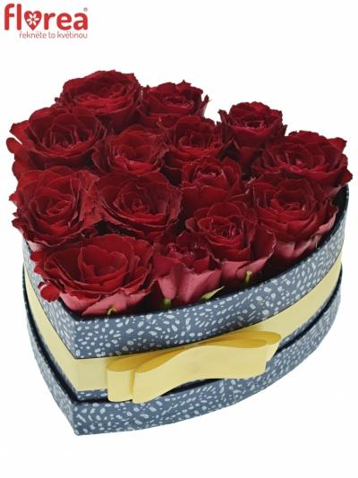 Krabička růží MADAM RED modrá 19x9cm