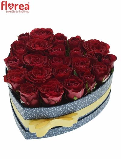 Krabička růží MADAM RED modrá 24x10cm