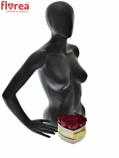 Krabička růží MADAM RED šampaň 15x8cm