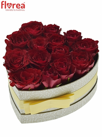 Krabička růží MADAM RED šampaň 19x9cm