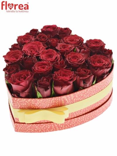 Krabička růží MAXMELL červená 24x10cm