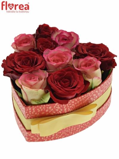 Krabička růží ODETTE červená 15x8cm