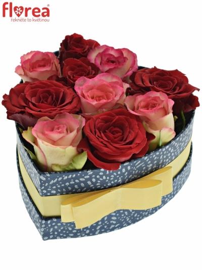 Krabička růží ODETTE modrá 15x8cm