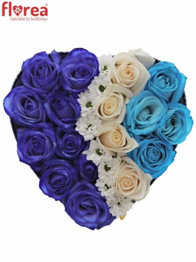 Krabička růží ORPHA modrá 19x9cm
