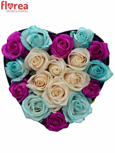 Krabička růží ROSANA modrá 19x9cm