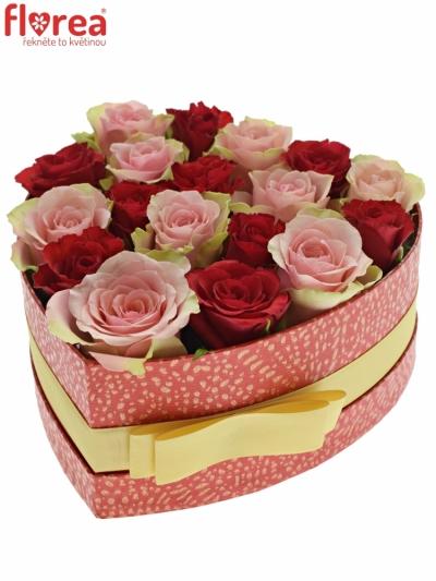 Krabička růží ROSEBELLINE červená 19x9cm