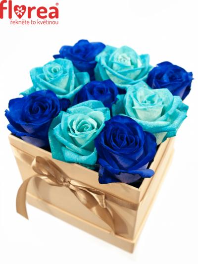 Krabička růží šampaň AGATONE 12x12x11cm