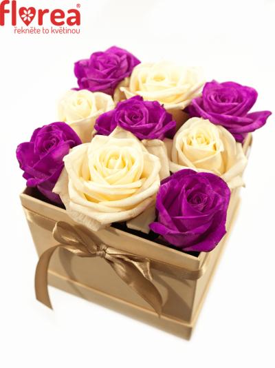 Krabička růží šampaň ALIKI 12x12x11cm