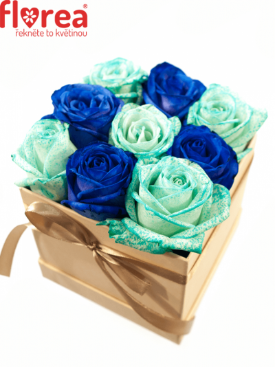Krabička růží šampaň ALYSIA 12x12x11cm