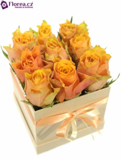 Krabička růží šampaň KLIO 12x12x11cm