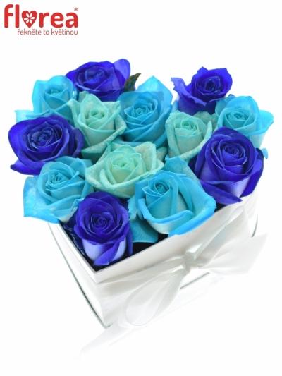 Krabička růží srdce bílé ELYSA 16x9cm