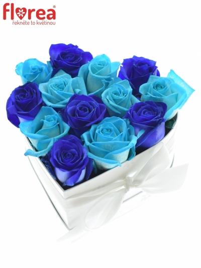 Krabička růží srdce bílé ERYX 16x9cm