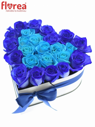 Krabička růží srdce bílé MELANEY 20x11cm