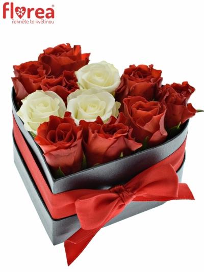 Krabička růží srdce černá HESTIA 14x6 cm