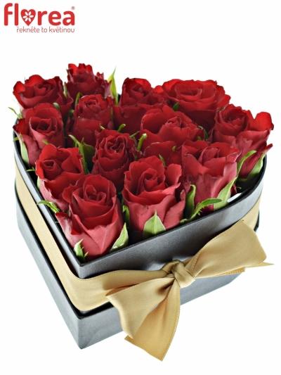 Krabička růží srdce černá IBYCUS 14x6 cm