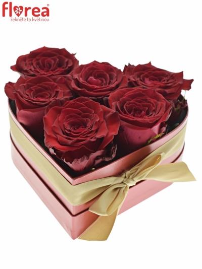 Krabička růží srdce červená  DORENA 18x7cm