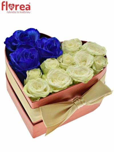 Krabička růží srdce červené Anetta 14x6cm