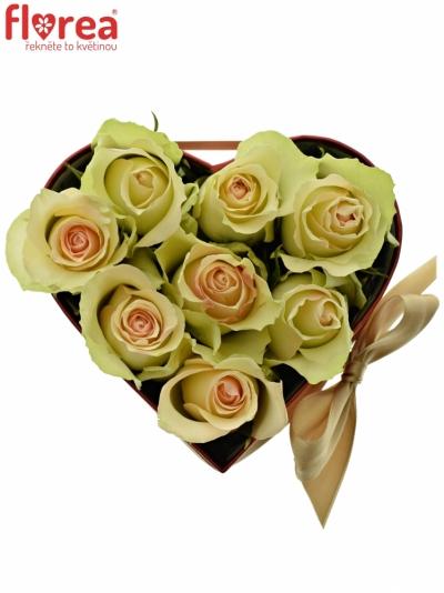 Krabička růží srdce červené ARIN 14x6cm