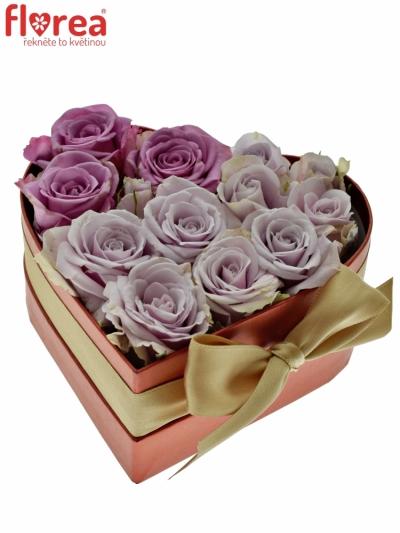 Krabička růží srdce červené FELIPO 14x6cm