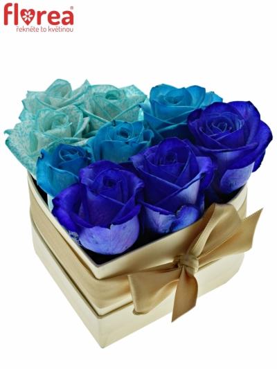 Krabička růží srdce champange HELLER 14x6cm