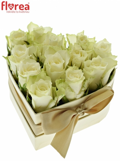 Krabička růží srdce champange ISIDOROS 14x6 cm