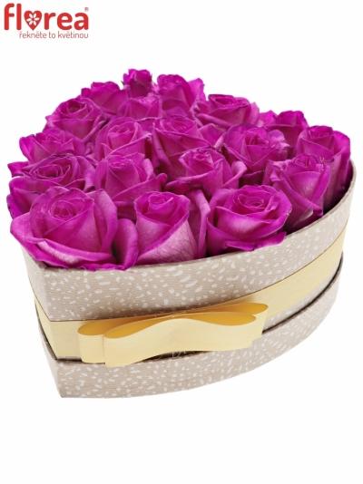 Krabička růžových růží CERISE VENDELA šampaň 19x9cm